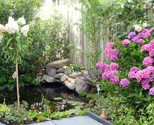 Een vijver in de nieuwe tuin